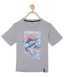 612 League Half Sleeves T-Shirt Bullfish Print - Grey