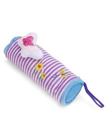 Striped Plush Pencil Pouch With Butterfly Motif - Purple & Blue