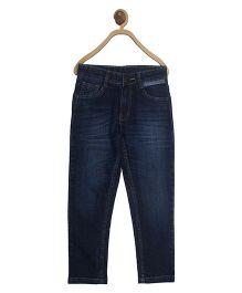 612 league boys denim basic with cut n sew pocket blue 5-6y 99 % cotton 1% spandex