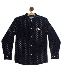 612 League Full Sleeves Printed Shirt - Navy Blue