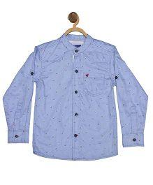 612 League Full Sleeves Printed Shirt - Blue
