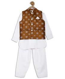612 League Full Sleeves Kurta Pajama And Jacket Set - White Brown