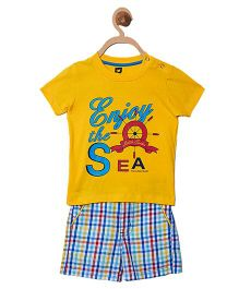 612 League Half Sleeves Printed T-Shirt And Shorts - Yellow Multicolor