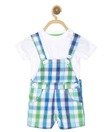 612 League Dungaree With T-shirt - Green Blue White