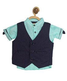 612 League Waist Coat With half Sleeves Shirt - Green And Navy