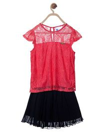 612 League Short Sleeves Top With Skirt - Pink Black