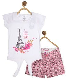 612 League Half Sleeves Top With Printed Shorts - White And Pink
