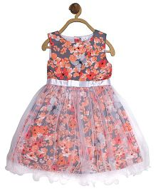 612 League Party Wear Sleeveless Frock Floral And Butterfly Print - Grey Orange