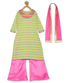 612 League Sleeveless Angrakha Kurti Palazzos And Dupatta Set - Pink Green