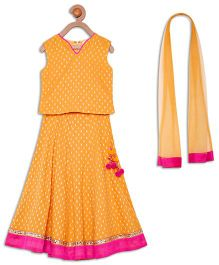 612 League Sleeveless Lehenga And Dupatta Set - Yellow