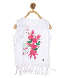 612 League Sleeveless Top Floral Print - White
