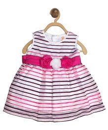 612 League Stripes Party Wear Organza Dress - White Pink