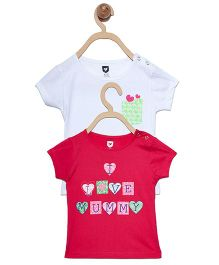 612 League Half Sleeves Top I Love Mummy Print - White Pink