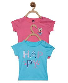 612 League Half Sleeves Top Happy Print - Pink Blue