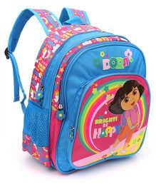 Dora Be Bright Be Happy Backpack Pink And Blue - 14 Inches