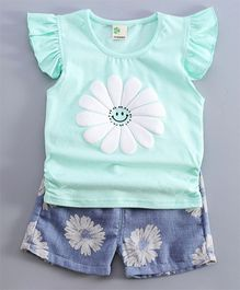 Aww Hunnie Set Of Flower Printed Summer Shorts & Tee - Green