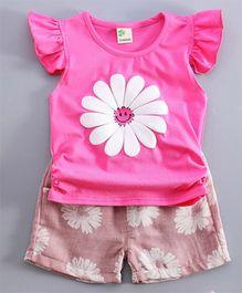 Aww Hunnie Set Of Flower Printed Summer Shorts & Tee - Hot Pink