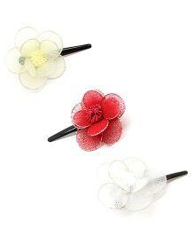 Eternz Set Of Three Flower Design Hair clips - Red White & Yellow