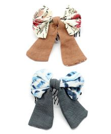 Eternz Set Of Two Printed Bow Comb Pin - Brown & Grey