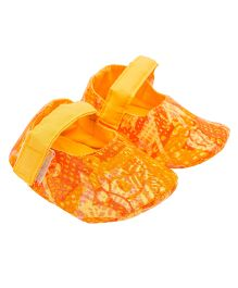 Eternz Handcrafted Printed Boots - Orange
