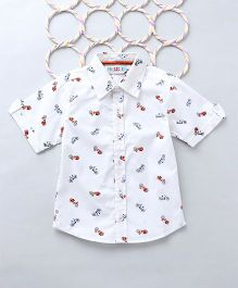 Popsicles Scooter Printed Shirt - White