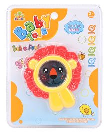 Baby Rattle Lion Face Design - Yellow Red Black