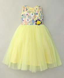 Littleopia Sleeveless Party Wear Frock Sequin Detailing - Yellow