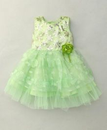 Littleopia Sleeveless Party Frock Flower Applique - Light Green