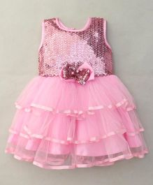 Littleopia Sleeveless Layered Party Wear Frock Bow Applique - Pink