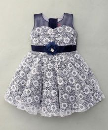 Littleopia Sleeveless Party Wear Frock Flower Applique - White Navy