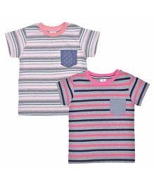 Luke and Lilly Half Sleeves Stripes T-Shirt Set of 2 - Grey Pink Blue