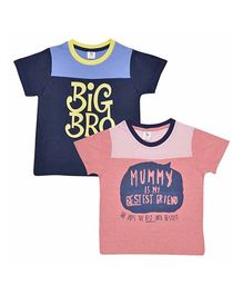 Luke and Lilly Half Sleeves T-Shirt Set of 2 - Navy Peach