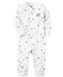 Carter's Cotton Zip-Up Sleep & Play - White