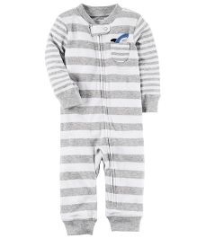 Carter's Cotton Zip-Up Sleep & Play - White Grey