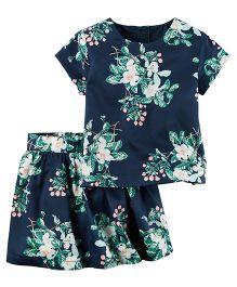 Carter's 2-Piece Sateen Floral Top & Skirt Set - Navy Blue
