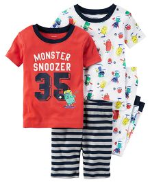Carter's 4-Piece Snug Fit Cotton PJs - Red White Navy