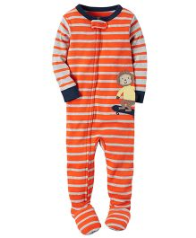 Carter's 1 Piece Snug Fit Cotton PJs - Orange Grey