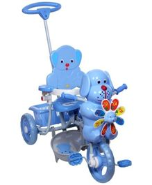 Mee Mee Puppy Face Tricycle With Push Handle - Blue