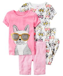 Carter's 4-Piece Neon PJs - Pink White