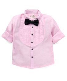 The KidShop Tuxedo Shirt With A Classy Bow - Pink