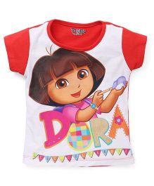 Eteenz Short Sleeves Top Dora Print - Red White