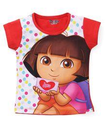 Eteenz Short Sleeves Top Dora An Dots Print - Carrot White
