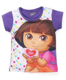 Eteenz Short Sleeves Top Dora An Dots Print - Purple White