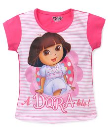Eteenz Short Sleeves Top Dora And Stripes Print - Pink White