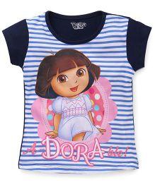 Eteenz Short Sleeves Top Dora Print - Navy White