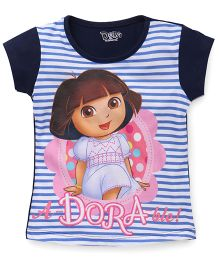 Eteenz Short Sleeves Top Dora And Stripes Print - Navy White