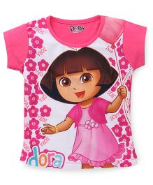 Eteenz Short Sleeves Top Dora And Floral Print - Pink White