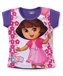 Eteenz Short Sleeves Top Dora And Floral Print - Purple Pink White