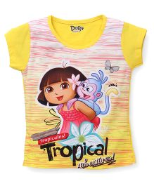 Eteenz Short Sleeves Top Dora Print - Yellow White