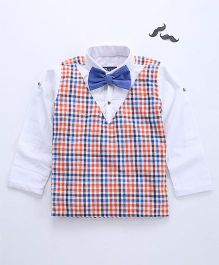 Knotty Kids Full Sleeve Checkered Shirt With Bow - Orange